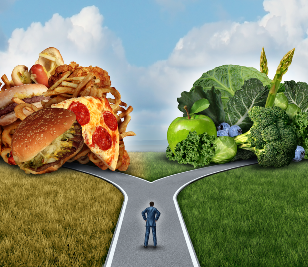 Healthy+Food+vs+junk+food+fork+in+the+road